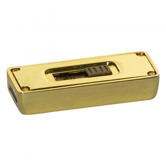Metalni USB z drsnikom - zlata ploščica
