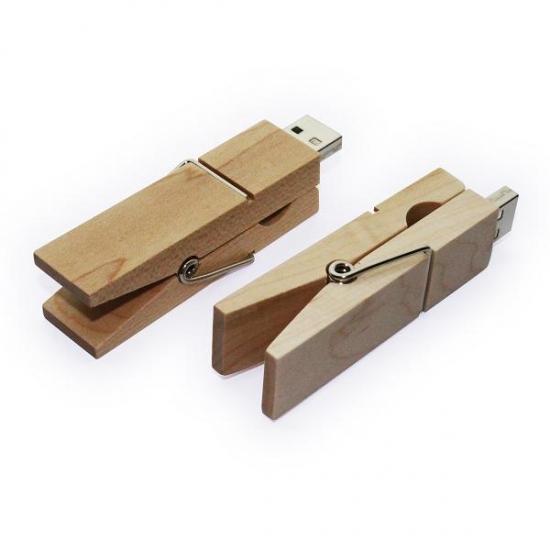Leseni USB ključek - ščipalka