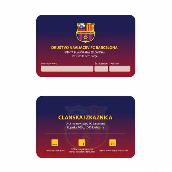 Članska izkaznica Društva navijačev FCB