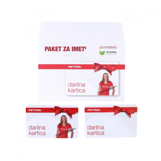 Primer darilne kartice Petrol v kombinaciji z darilno kuverto