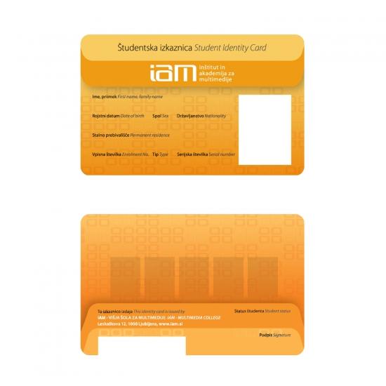 Primer študentske šolske izkaznice IAM