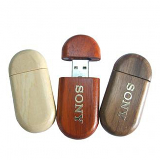 Leseni USB ključek - zaobljeni, različen les